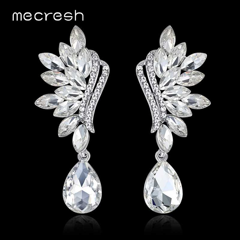 Mecresh Silver / Black Teardrop Crystal Big Dangle Earrings 2018 Statement Flower Shape Bride Earrings for Wedding Party MEH1043