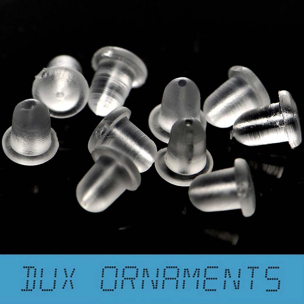 Bag Clear Hypoallergenic Antiallergic Plastic Earwire Earnuts  Clutch Bullet Earring Backs Stoppers 4x5mm(