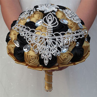 Gold and Black Wedding Bouquet for women Crystal Bride Bridesmaid Wedding Flower Hand Made Rose Wedding Gift New Arrival