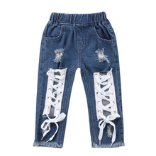 Штаны для маленьких мальчиков и девочек, джинсы, джинсы с повязкой, синие От 1 до 6 лет со шнуровкой для девочек