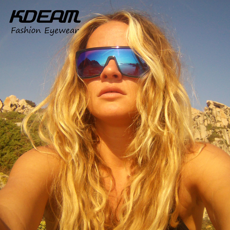 43b022396db KDEAM Flynn oversize Shield Sunglasses Men UV400 protection Sun Glasses  Women Vintage Big size Goggles With Brand Hard Box KD802-in Sunglasses from  Apparel ...