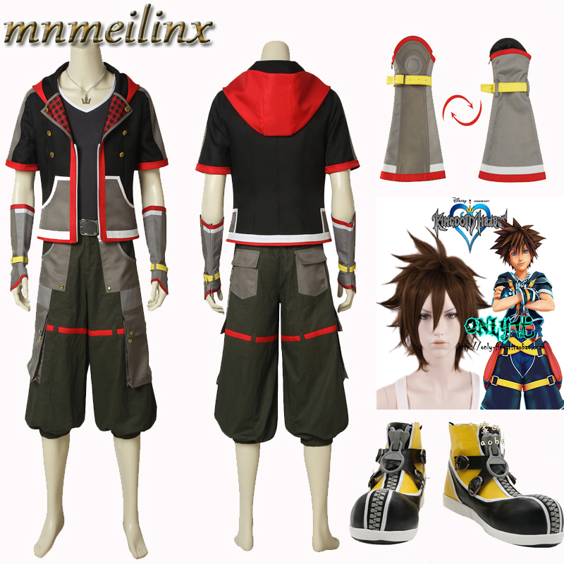 Mens Kingdom Hearts Sora Costume Anime Wig