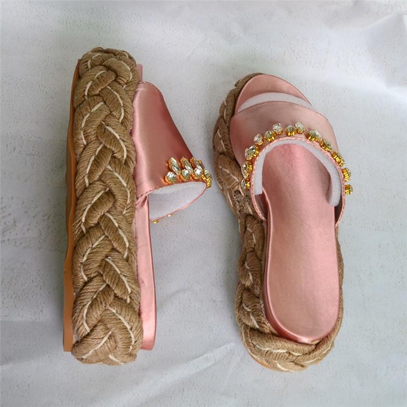 Cristal Marée Satin Bleu forme blue Wedge Chaussures D'été Sandales pink Femmes Talons Soie Black Décor Pantoufles Rose Femme Plate 2018 De Extérieure nq0Bw