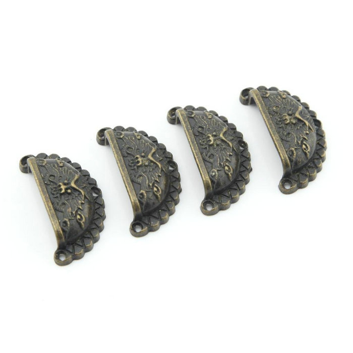 48*23MM Antique Brass Dragon engraved Shell Jewelry Box handles Small Medicine Cabinet Cupboard Dresser Drawer Pulls Size S