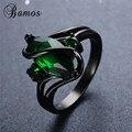 Bamos элегантное кольцо с зеленым кубическим цирконием, винтажное модное черное Золотое обручальное кольцо для женщин, камень для родившихся ...