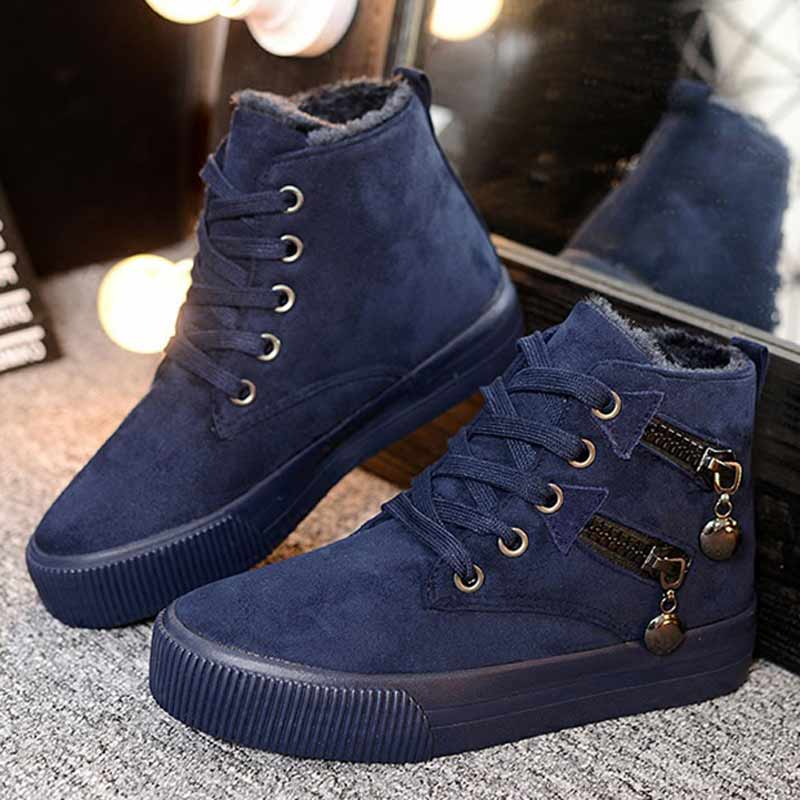 2017 Women Fashion Vintage Round Toe Flock Ankle Boots Lace Up Casual Shoes Booties for Winter front lace up casual ankle boots autumn vintage brown new booties flat genuine leather suede shoes round toe fall female fashion