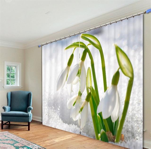 moderne luxe fantasy witte magnolia 3d verduisterende gordijnen voor beddengoed woonkamer hotel gordijnen cortinas