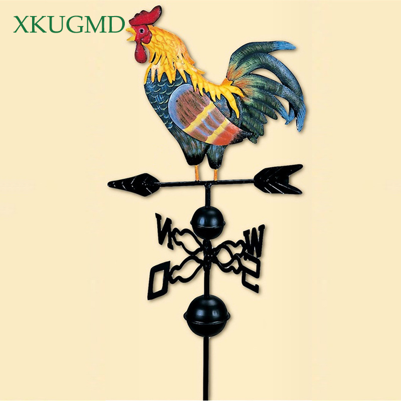 130cm Height EuropeanTraditional Painted Cock Weather Wind Vane Flower Insert Country Style Classic Garden Supplies Decoration