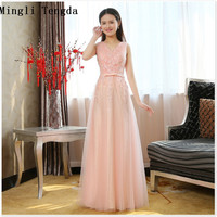 Mingli Tengda Pink Bridesmaid Dresses Backless V Neck Long Lace Shoulder Bridesmaid Dresses Ladies Dresses for Wedding Party