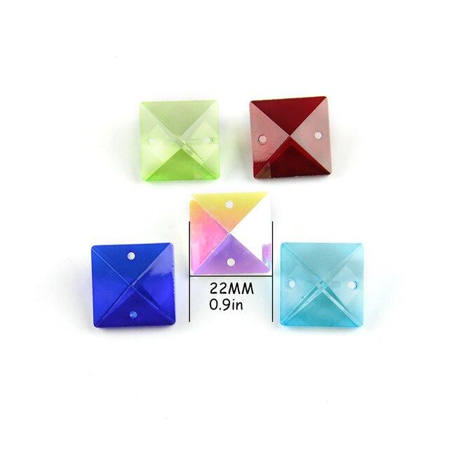 Couleurs 22mm perles carrées en cristal dans 2 trous pour accessoires de décoration de la maison, perles de rideau en cristal, perle de lustre en cristal