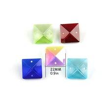 Cuentas cuadradas de cristal de 22mm de colores en 2 agujeros para accesorios de decoración del hogar, cuentas de cristal para cortinas, cuentas de araña de cristal
