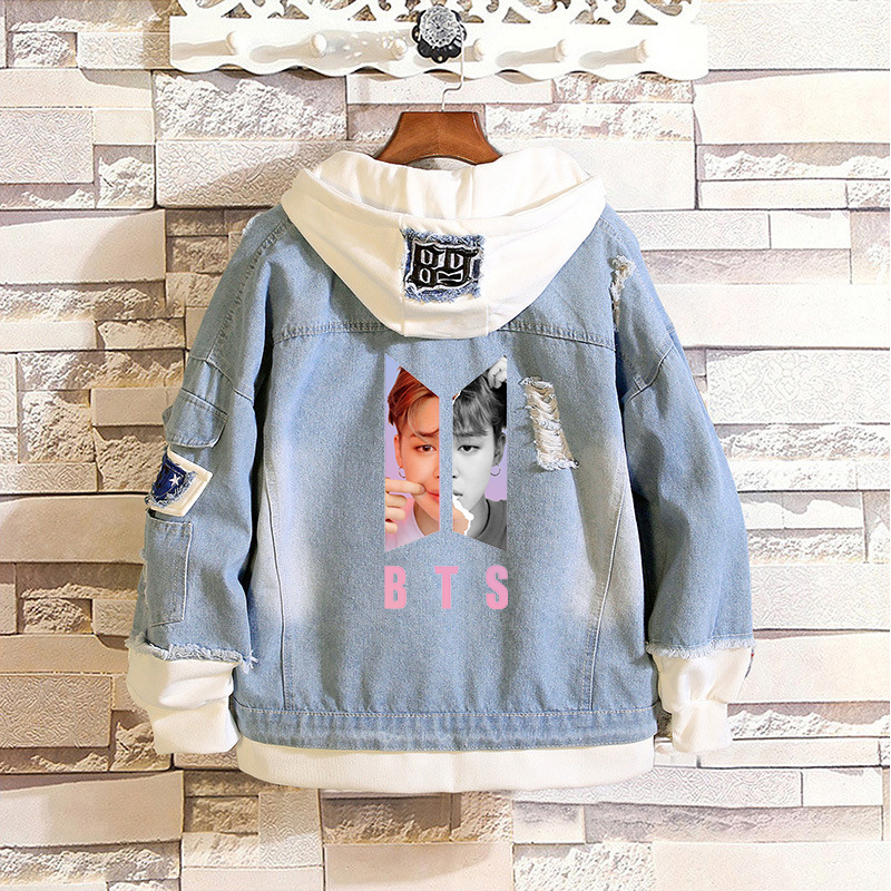 BF 2019 New Kpop Love Yourself Denim Jean Stitching Jacket Coat Harajuku Bangtan Boy KPOP Jimin Suga Clothes Fans Hoodies