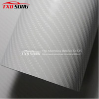 1.52*30M White 4D carbon fiber sticker with air free bubbles 4D carbon wrapping film for car body decoration by free shipping