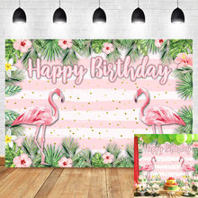 Mehofoto Flamingo Photo Background Photophone Birthday party Flower White Pink Stripes Photography Backdrops Studio Shoots(China)