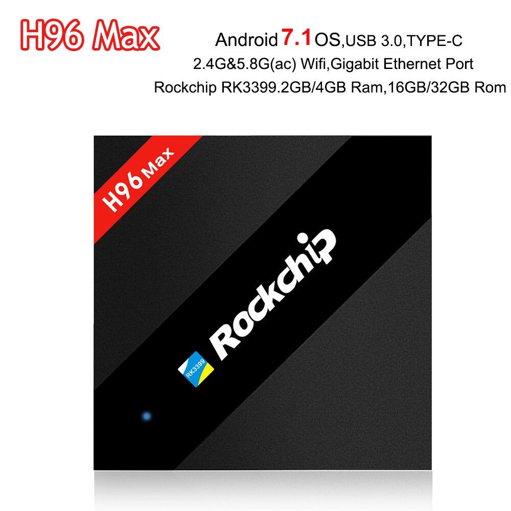 Android 7.1 TV Box H96 Max 4 GB/32 GB RK3399 Six Core Mali-T860 WiFi H.265 BT4.0 Gigabit TYPE-C 1080 P H96max 4 K Smart Media Player
