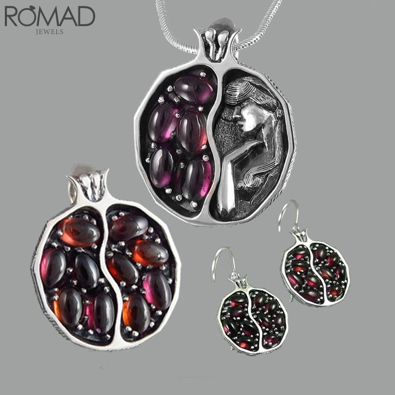 ROMAD Red Stone necklace women crystal vintage gem engraved bridal pendant garnet colar pomegranate girl R5
