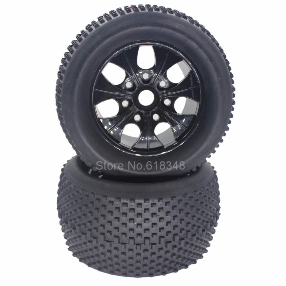 4pcs 140mm 2.8 inch RC 1/8 Tires & Wheel Rim Rubber 17mm Hex Hub For Off Road Monster Truck HSP NOKIER 94062 Parts 4pcs rc crawler truck 1 9 inch rubber tires
