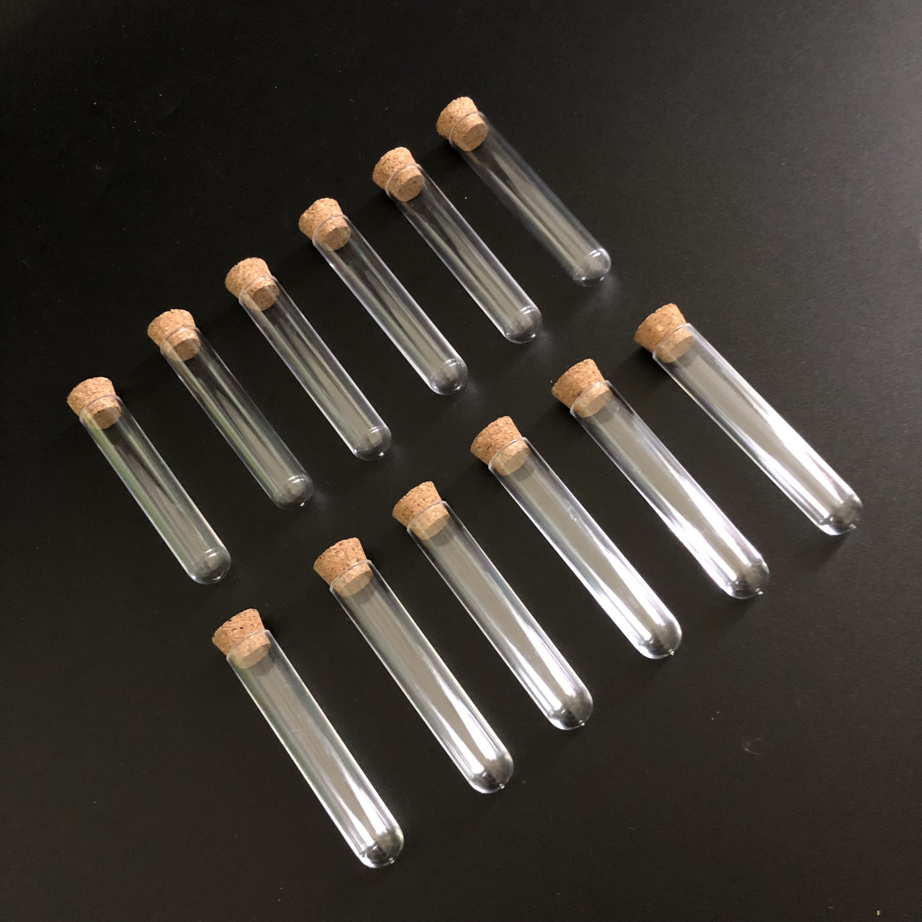 (10 Pieces/pack) 12*60mm Clear Plastic Test Tubes With Cork Cap Use For Laboratory Or Wedding Favours Vial
