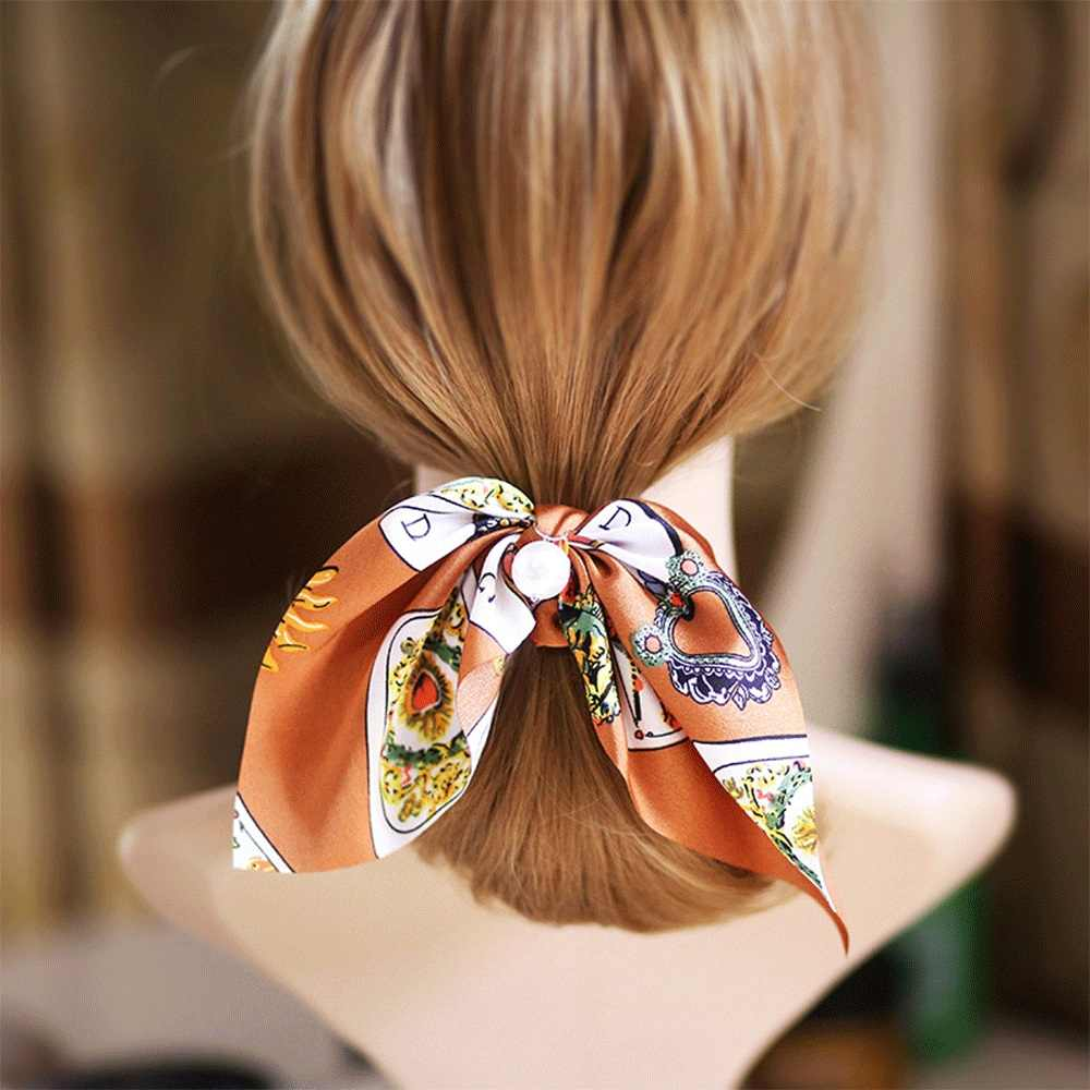 Chiffon Floral Printed Bowknot Silk Hair Scrunchies Women Pearls Ponytail Holder Hair Tie Hair Rope Hair Accessories Multicolor