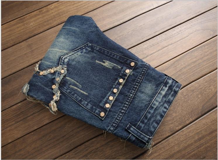 European American Style fashion brand men jeans luxury Men's casual denim trousers stripes Slim blue zipper jeans pants men J010