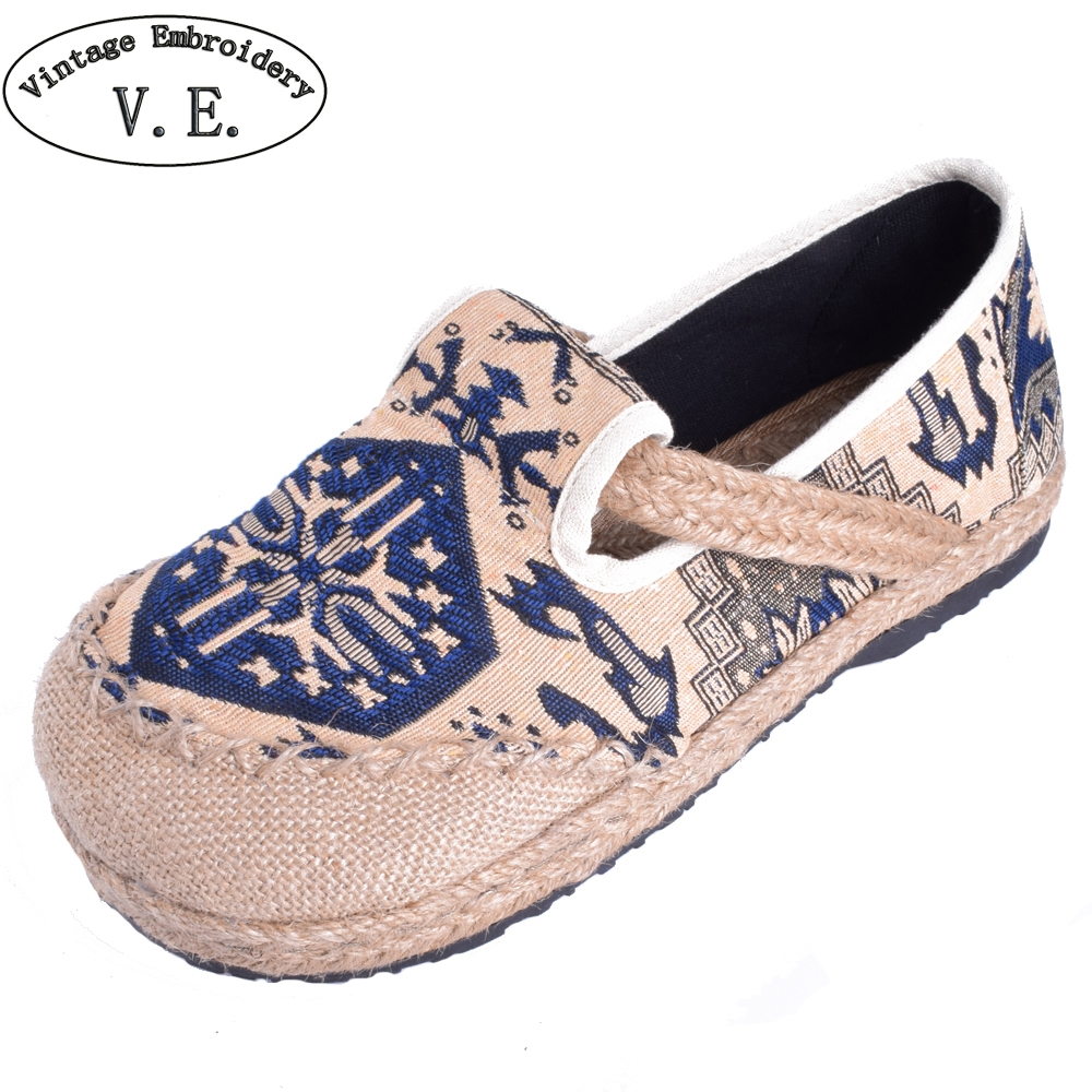 Women Flats Shoes Thai Boho Cotton Linen Canvas Cloth National Handmade Woven Round Toe Flat Shoes Embroidered Plus size vintage women linen shoes thai cotton canvas owl embroidered cloth single national flats woven round toe lace up shoes woman