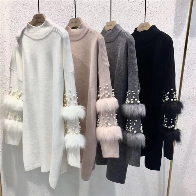 New Faux Fur Embellished Sleeve Sweater Long sleeve Jumpers with pearls Turtleneck Pull Casual Pullovers Jersey Mujer Invierno