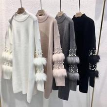새로운 가짜 모피 장식 된 슬리브 스웨터 진주와 긴 소매 점퍼 터틀넥 당겨 캐주얼 풀오버 저지 mujer invierno