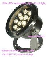 Trasporto libero da dhl!! Impermeabile, in acciaio inox per esterni 12 w led spotligh, luce esterna del led, 12 v dc, ip68, DS-10-39-12W