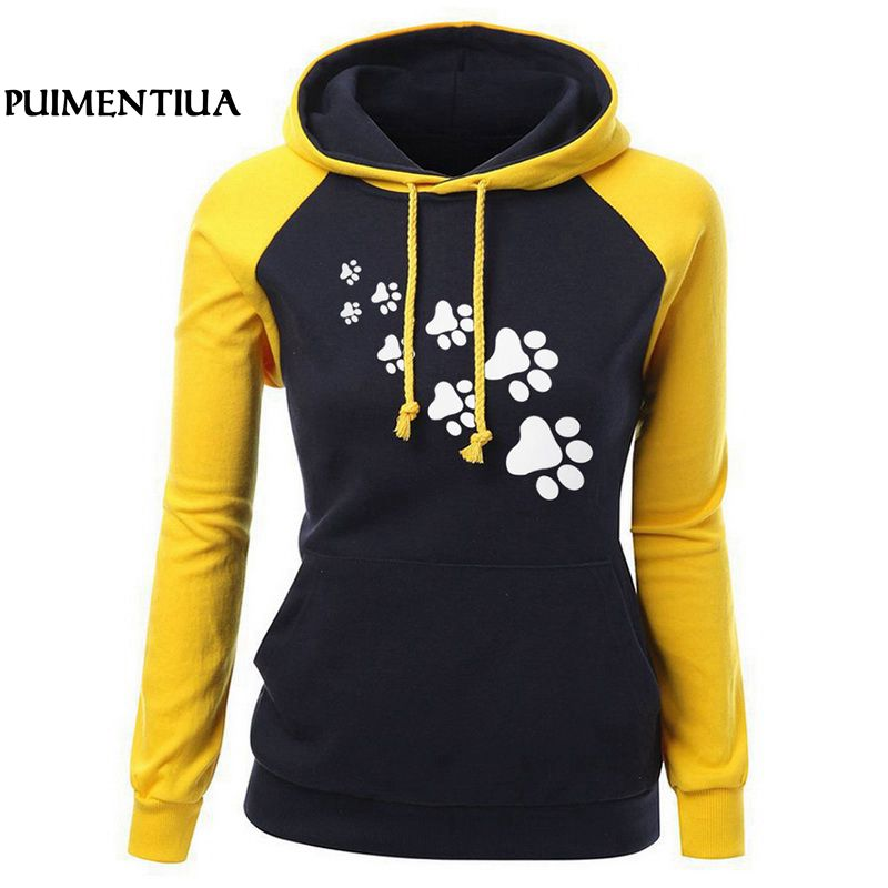 Puimentiua Casual Color Patchwork Women Hoodies Sweatshirt Autumn Kawaii Cat Paw print Hooded Female Plus Size Tracksuits big toe sandal