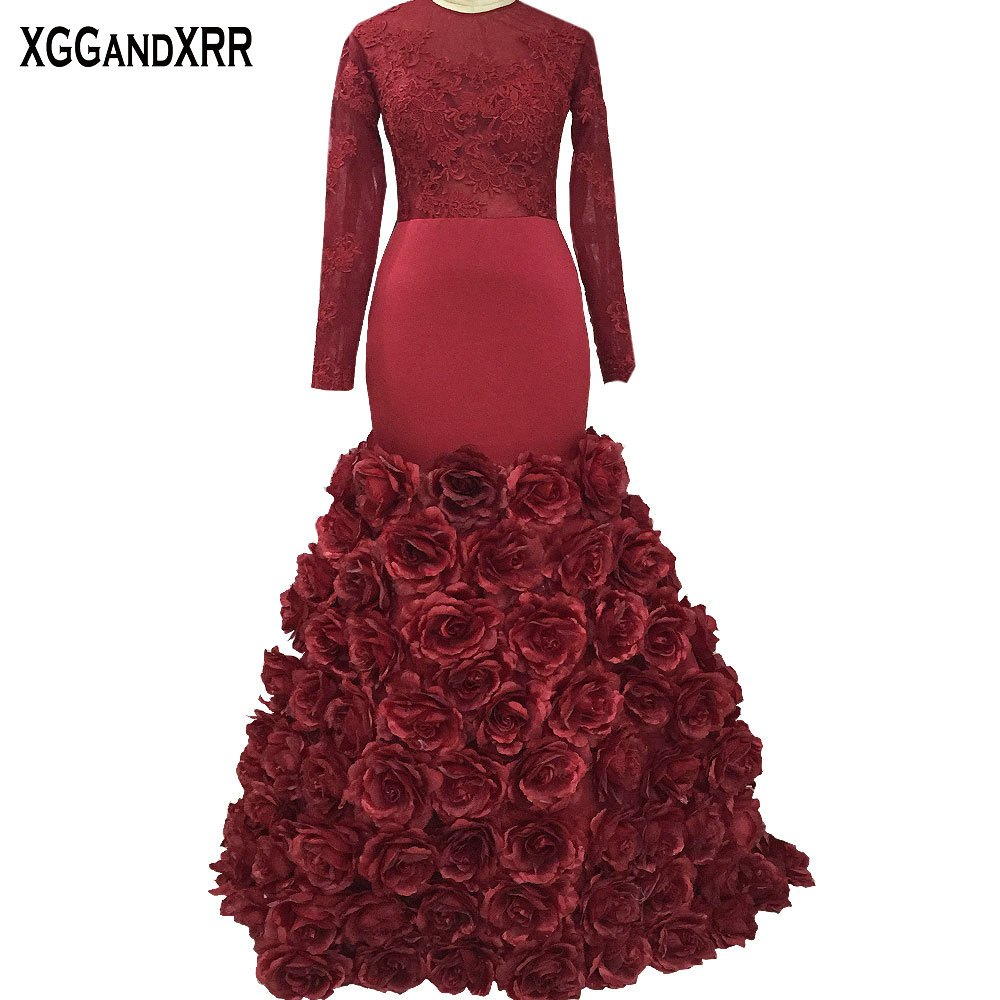 Elegant Long Sleeves Mermaid   Prom     Dress   with Flowers Luxury Burgundy Scoop Appliques Illusion Back Long Evening Party Gown 2018