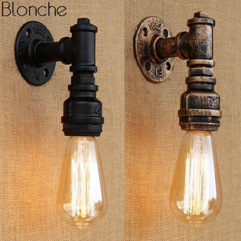 Loft Industrial Iron Water Pipe Wall Light Lamp Vintage E27 LED Wall Sconce For Living Room Bedroom Bar Home Decor Luminaire steampunk loft 4 color iron water pipe retro wall lamp vintage e27 e26 sconce lights for living room bedroom restaurant bar