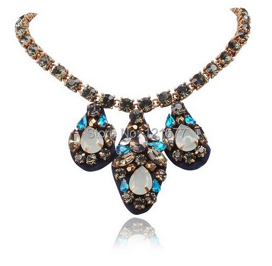 Luxury Long Pendant Water Drop Statement Handmade Imitation Gem Stone Crystal Pendant Resin Fashion Necklace Women