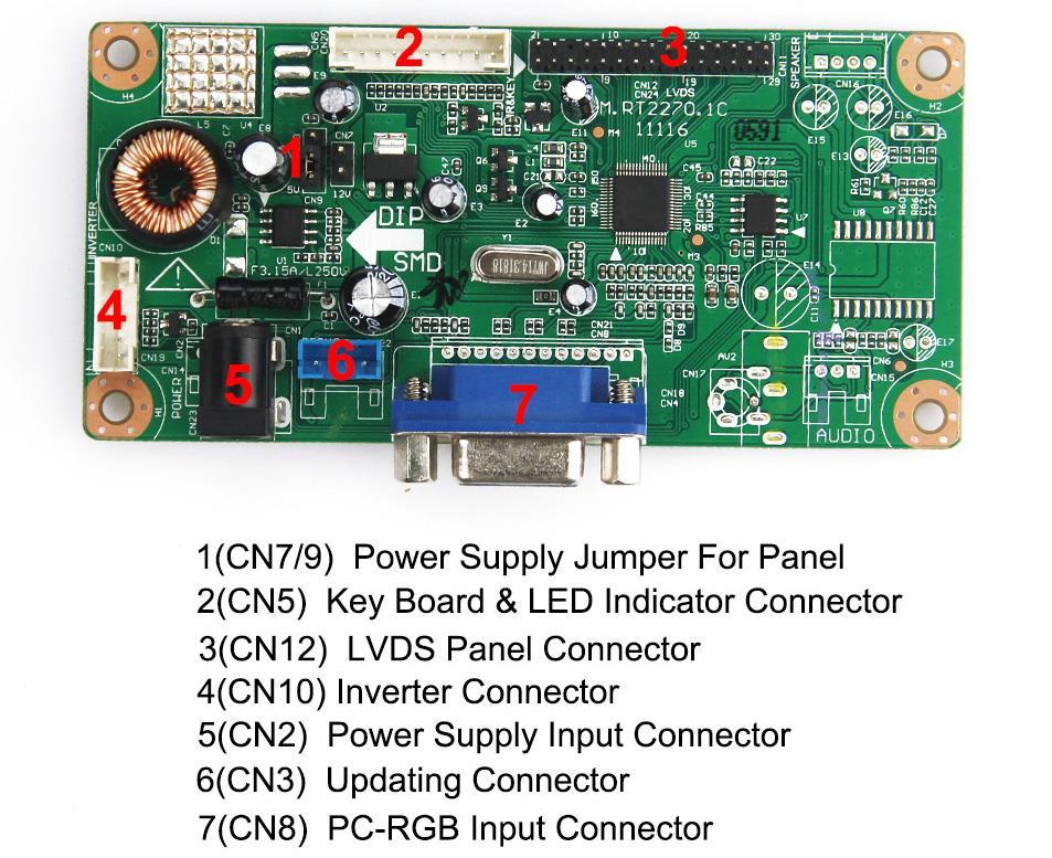 LCD/LED Control Driver Board (VGA input) For B154EW01 LTN154X3-L06 1280x800 LVDS Monitor Reuse Laptop