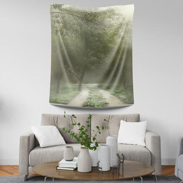 Tapisserie murale en polyester pour mur de jardin   Tapisserie murale pour forêt naturelle