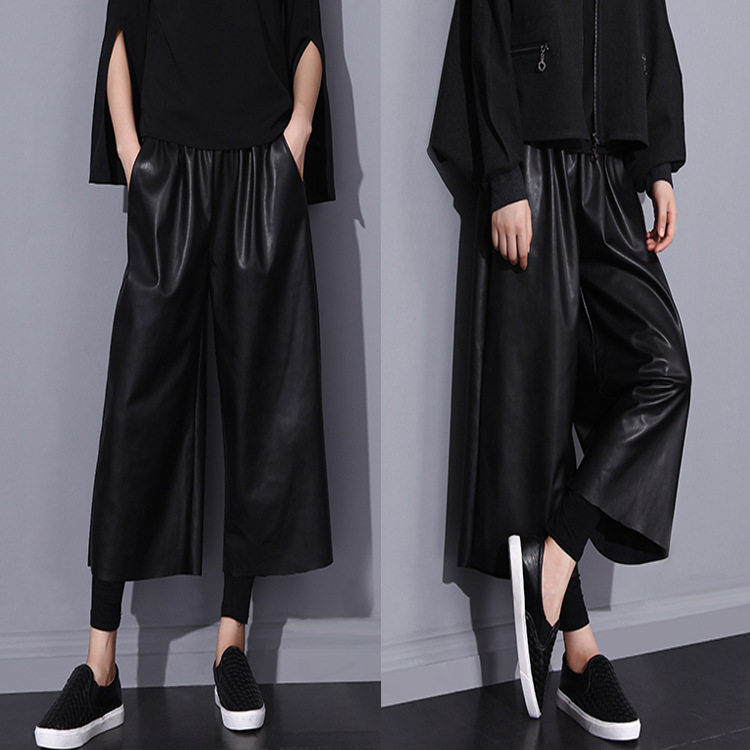 Womens Ladies Pu Leather Pants Black Leather Trousers -5959