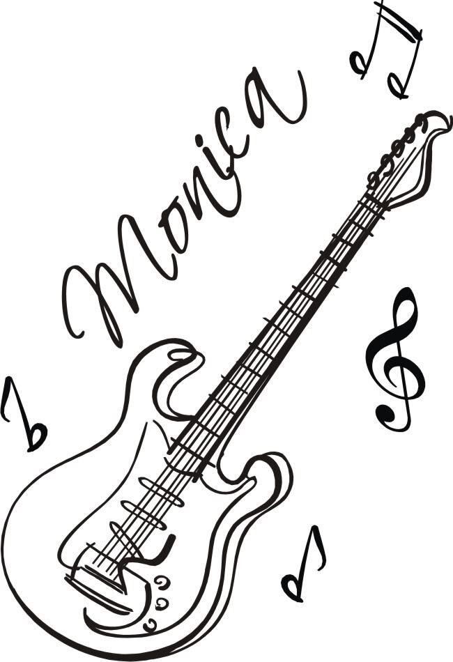 Custom Names Dacals Guitar Custom Name Music Vinyl Wall Decals - Custom vinyl guitar decals