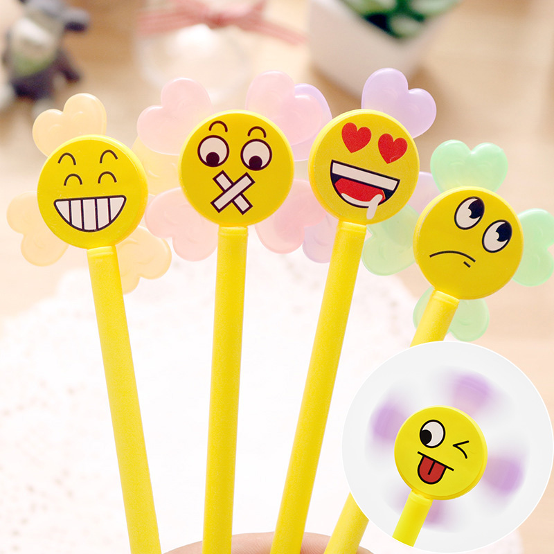Creative Cartoon Facial Expression Gel Pen Cute Fingertip Gyro Pens Stationery For Kids Students Novelty Gift Student