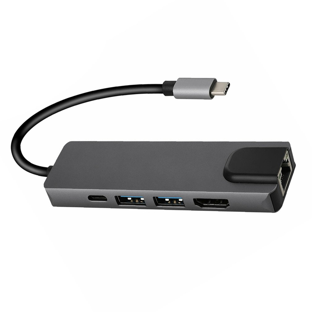 Practical 5 in 1 Type C Hub to 4K HDMI 2 USB 3.0 PD Charging Gigabit Ethernet RJ45 Adapter High Performance