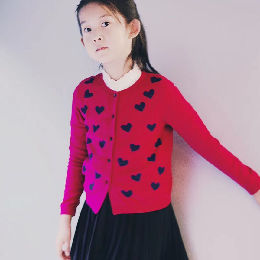 Autumn Winter Baby Girl Sweater Casual Style Girl Cotton Cardigan Long Sleeve O-neck Solid Heart Pattern Children Sweater geometric spliced print round neck long sleeve sweater
