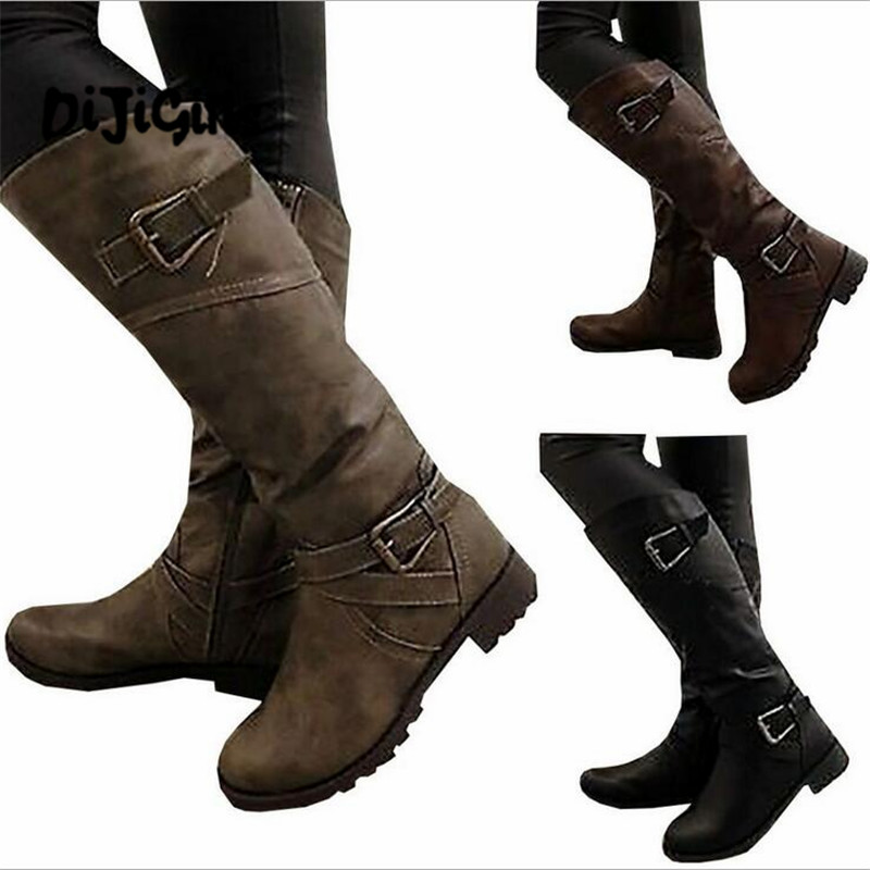2018 Women Round Toe Mid Calf Boots Female Matte Leather Knight Boot Woman Buckle Low Heel Winter Shoe Heeled Footwear Size35-43 prova perfetto winter women warm snow boots buckle straps genuine leather round toe low heel fur boots mid calf botas mujer