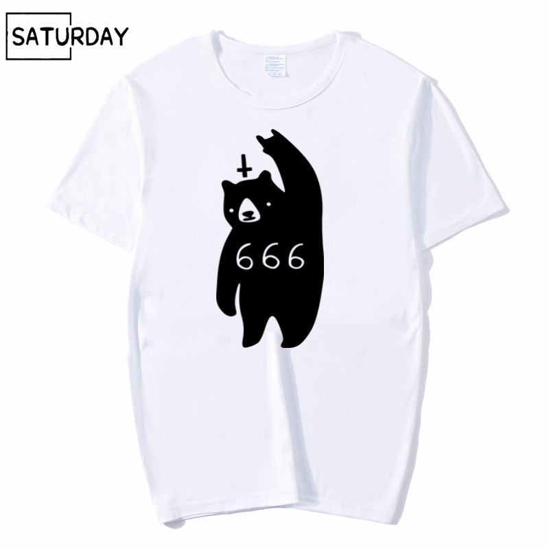 Men 666 Bear Satan Funny Print Fashion T shirt Summer Graphic Premium Short O Neck Sleeves White Hipster T shirt Unisex Clothes in T Shirts from Men 39 s Clothing