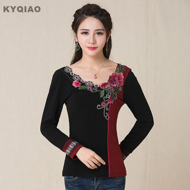 KYQIAO Plus Size Women Clothing Vintage 70s Ethnic M 5XL Black Red Patchwork V Neck
