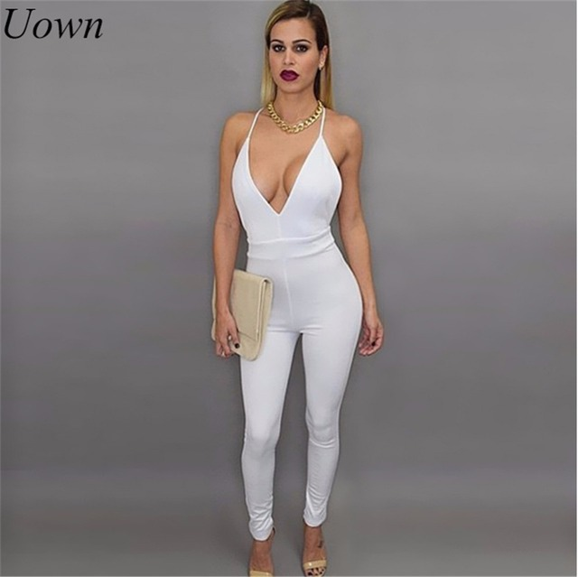 e9edb5c602a6 Summer Rompers Womens Jumpsuit Sleeveless Backless Deep V-Neck Sexy Spaghetti  Strap Solid Bodycon Playsuit Fashion Overalls