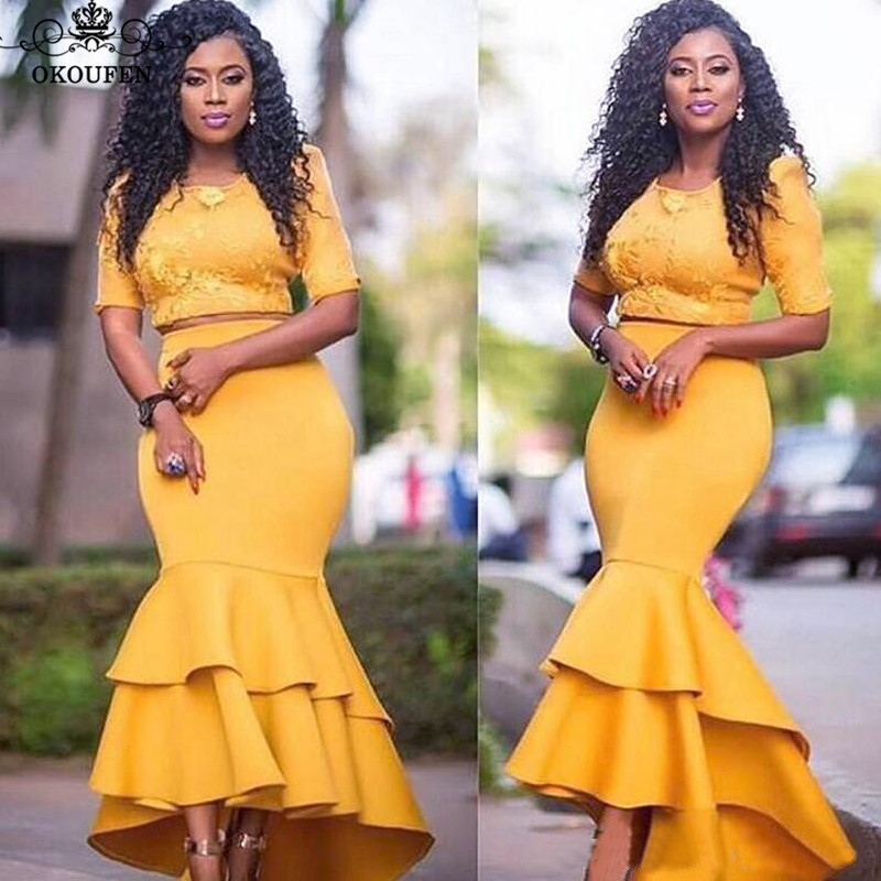 2019 Two Piece Evening Dress With Half Sleeves Gold Satin Ankle Length 2 Pieces Tiered Ruffles Mermaid Prom Dresses For Women
