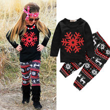 Snowflake 2pcs Children Kids Girl's Boy's Winter Clothes Toddler Baby Girls Outfits Long T-shirt Top + Pants Clothes Set 1 to 6Y