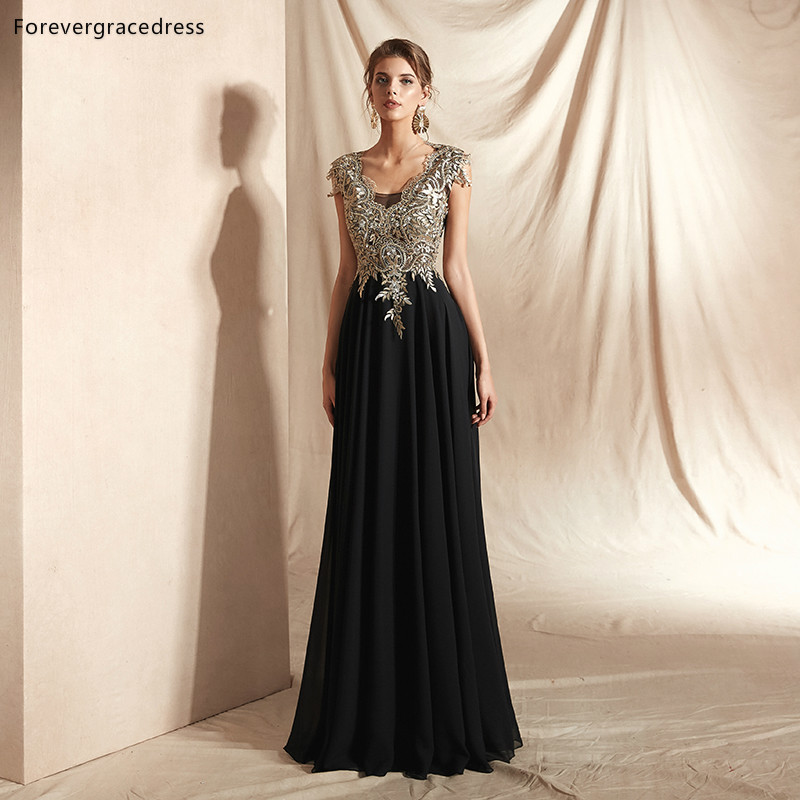 Forevergracedress Black With Gold Applique   Evening     Dresses   2019 A Line Sleeveless Formal Party Gowns Plus Size Custom Made