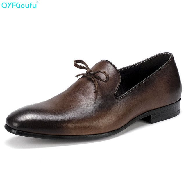 QYFCIOUFU Luxury Fashion Mens Leather Dress Shoes Italian Oxfords Genuine Leather Shoes Quality Cow Leather Slip On Formal Shoes