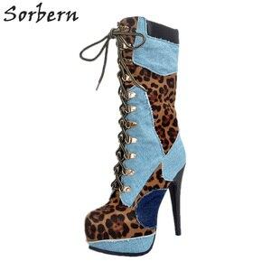 Image 4 - أحذية نسائية للشتاء بمقاسات كبيرة لون أزرق وأحمر عالية الكعب من قماش الدنيم بأربطة أحذية مثيرة للحفلات Zapatos موهير موهير تخفيضات كبيرة
