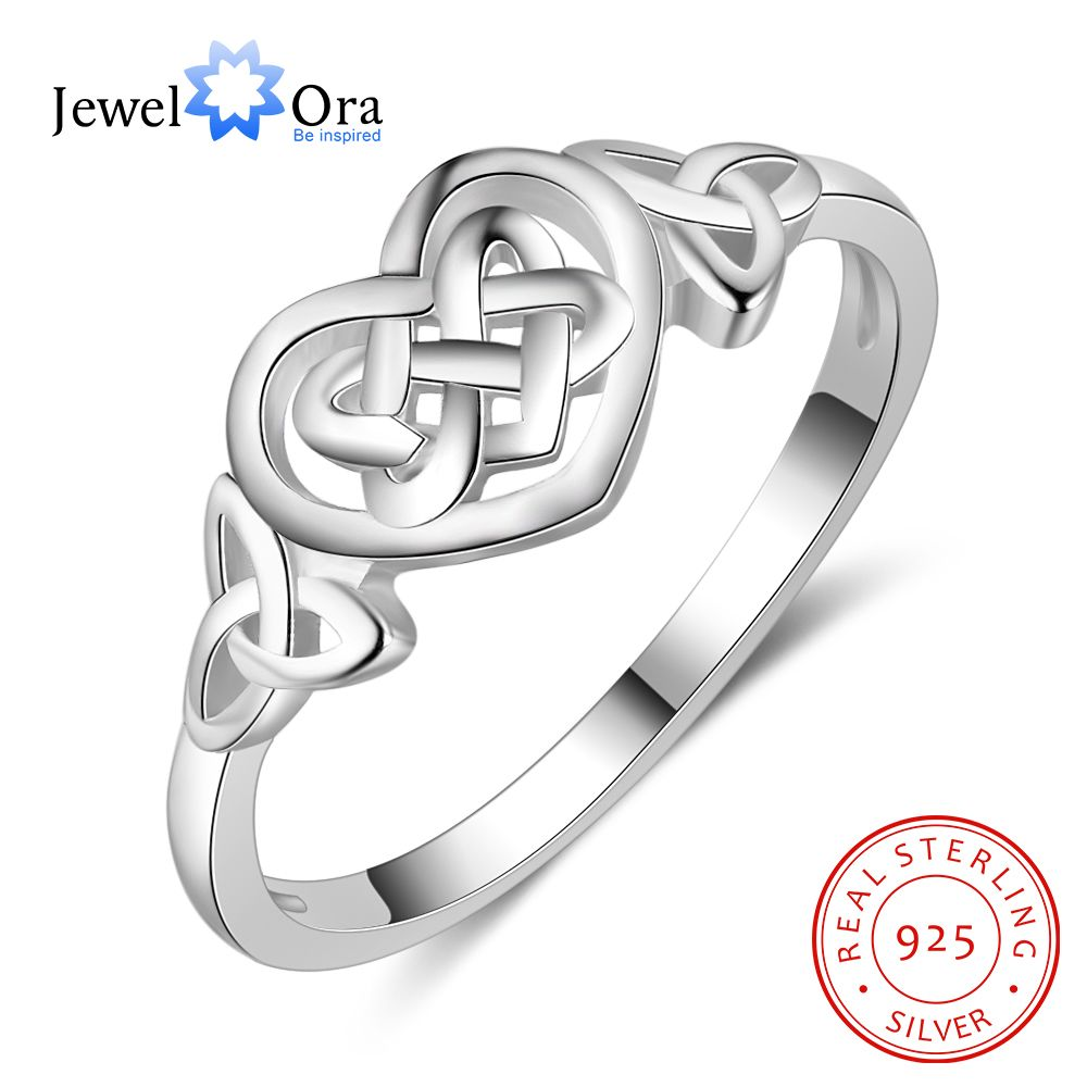 Engagement-Ring 925-Sterling-Silver Jewelry Wedding Trendy Fashion Woman Heart for Decoration