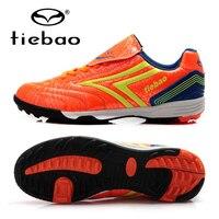 TIEBAO Professional Football Soccer Shoes Orange Botas De Futbol Outdoor Trainers TF Soles Sneakers For Kids